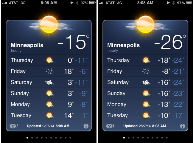 Temps in f and c